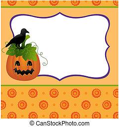 Blank template for Halloween pumpkin postcard