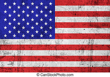 Grunge Dirty USA American Flag - Grunge Dirty and Weathered...