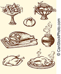 Vintage food - Set of hand drawn vector vintage food