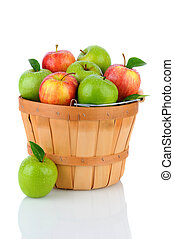 Granny Smith and Gala Apples in a Basket - A basket of fresh...