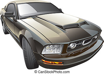 American sport car - Detail vector image of modern sport...