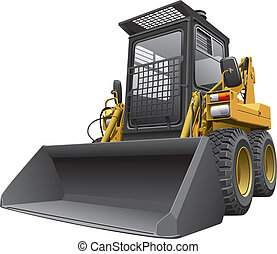 light-brown skid steer loadercdr - Detailed vectorial image...