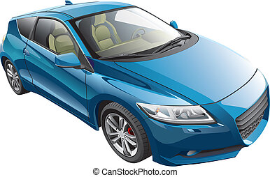 blue sport car - Detail vector image of blue modern sport...