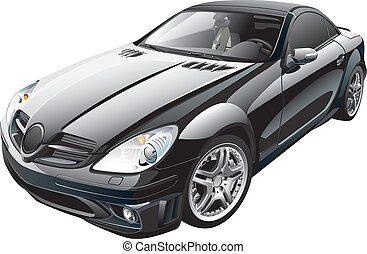 black sport car - Detail vector image of black modern sport...