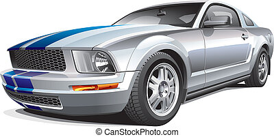 silver muscle car - Detail vector image of modern muscle...