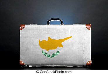 The Cypriot flag on a suitcase for travel.