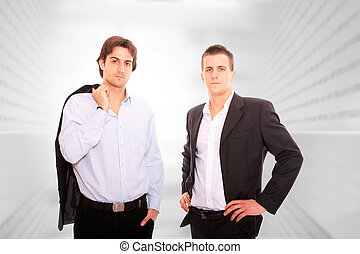 Portrait of two young businessmen - Portrait of two young...