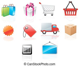 Website icons, illustration - Website icons with shopping...