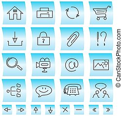 Website icons and buttons, illustration