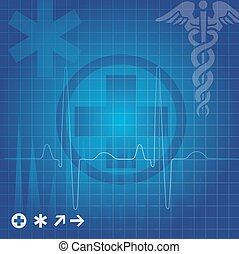 Medical symbols, illustration - Medical symbols in blue...