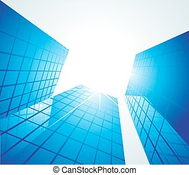 Blue office buildings, illustration - Blue office buildings,...