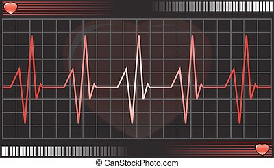Heartbeat monitor, illustration - Heartbeat monitor, vector...