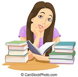 Education, illustration - Education showing a girl reading a...