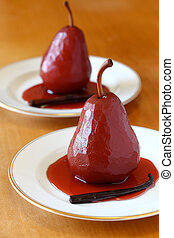 poached pear in red wine - dessert