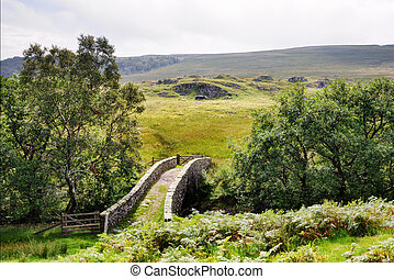 Small Packhorse Bridge in a Moorland Setting - A small...