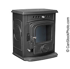 Cast iron stove - New cast iron wood stove isolated on white