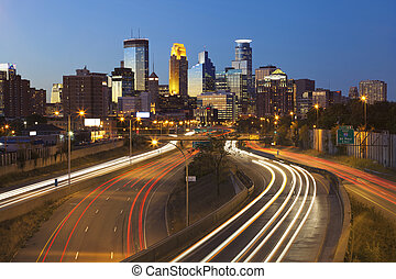 Minneapolis - Image of Minneapolis skyline and highway with...