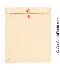 Manila envelope with red string isolated on white