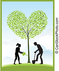 Gardening - Illustration of gardeners and a heart shape tree