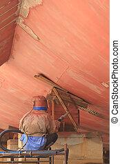 Sandblasting, metal, estructuras, construcción, sitio