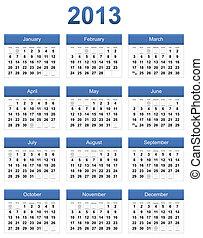 2013, カレンダー