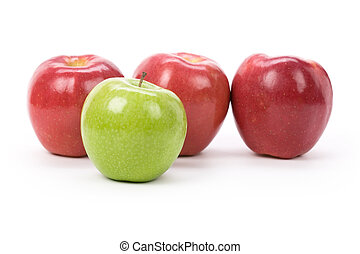 Green Apple red apple with white background, close up shot