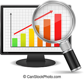 Bar Graph - Magnifying glass showing growing bar graph on...
