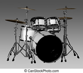Drum kit - white drum kit in grey gradient back