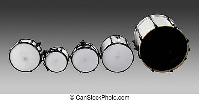 Drum set - set of white drums in grey gradient back