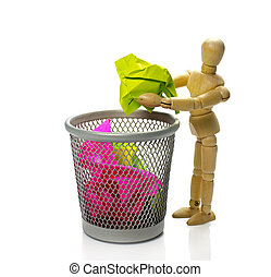 puppet throw paper in trash can - wooden puppet throw...