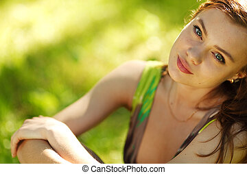 brunette close up portrait