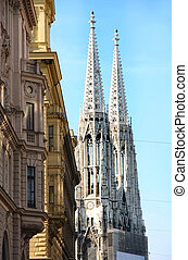 Votivkirche in Vienna, Austria - The Votivkirche towers...