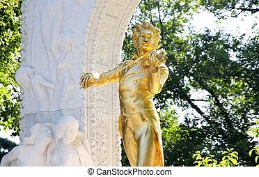 The statue of Johann Strauss in Vienna, Austria