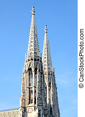 Votivkirche in Vienna, Austria - The Votivkirche towers...