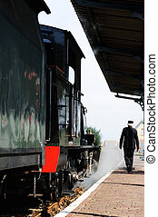 Historical steam train locomotive