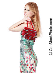 Glam girl - Slim smiling blond girl in stylish dress and...