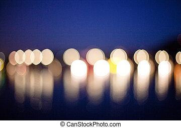 mglisto, światła, Abstrakcyjny, Błękitny
