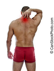 Rear view of muscular man with neck pain. Isolated on white....