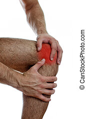 Close up view of male hands holding his sore knee Isolated...