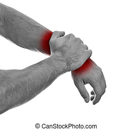 Close up view of male hands with wrist pain. Isolated on...