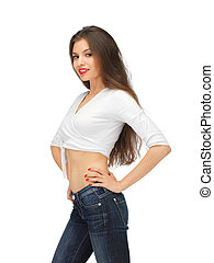 beautiful woman in casual clothes - bright picture of...