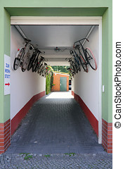 Entrance to a bicycle repair shop in the small town Genthin...