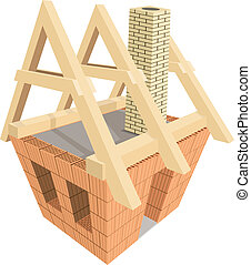 Structure of house in construction. Illustration