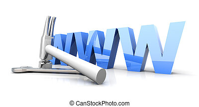 WWW - Under Construction - 3D Illustration. Website is under...