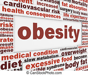Obesity medical poster design. Overweight global problem...