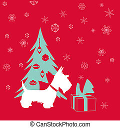 Cute Christmas Card - Scottish Terrier with present - in...