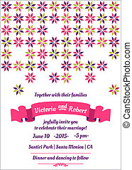 Wedding Colorful Invitation Card - in vector