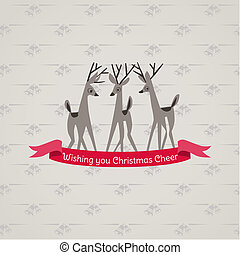 Retro Christmas Card - for invitation, congratulation in vector