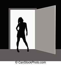 girl standing in front of the room