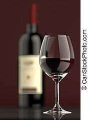 Red Wine bottle with Glass - Out of focus Bottle of red wine...